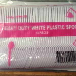 DESSERT SPOONS PLASTIC 0 HEAVY DUTY WHITE